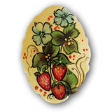 strawberry bloom hand painted  white brooch