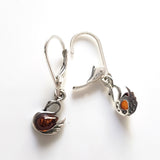 Swan Sterling Silver Amber Dangle Earrings