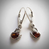 swan silver amber dangle earrings