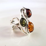 green amber, cognac amber, honey amber ring in silver