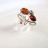 modern silver ring with multicolor genuine amber