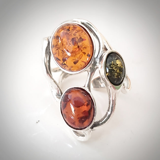 multi color natural amber ring