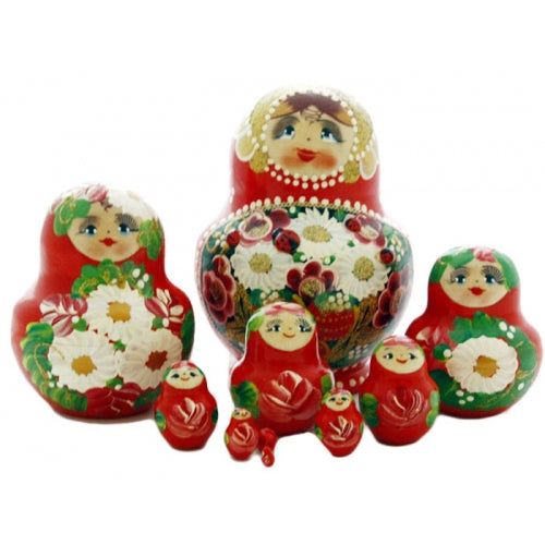 Traditional 10 Piece Red Matryoshka with Ladybug Set