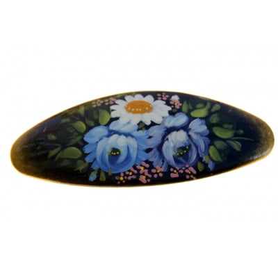 buyrussiangifts-store - Traditional Hair Clip with Blue Flowers - BuyRussianGifts Store - Souvenirs