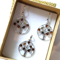 Tree of Life sterling silver with amber earrings pendant set