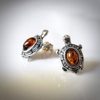 turtle sterling silver amber stud earrings
