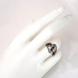 wide dark brown amber silver ring