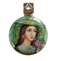 buyrussiangifts-store - Woman in Green Hand Painted Pendant Vislana Collection - BuyRussianGifts Store - MOTHER OF PEARL HAND PAINTED JEWELRY