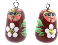 buyrussiangifts-store - Burgundy with Flower Matryoshka Doll Earrings - BuyRussianGifts Store - Souvenirs