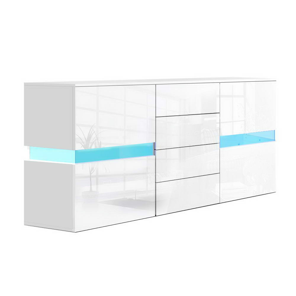 Artiss Buffet Sideboard Cabinet High Gloss RGB LED Storage Cupboard Doors Drawer