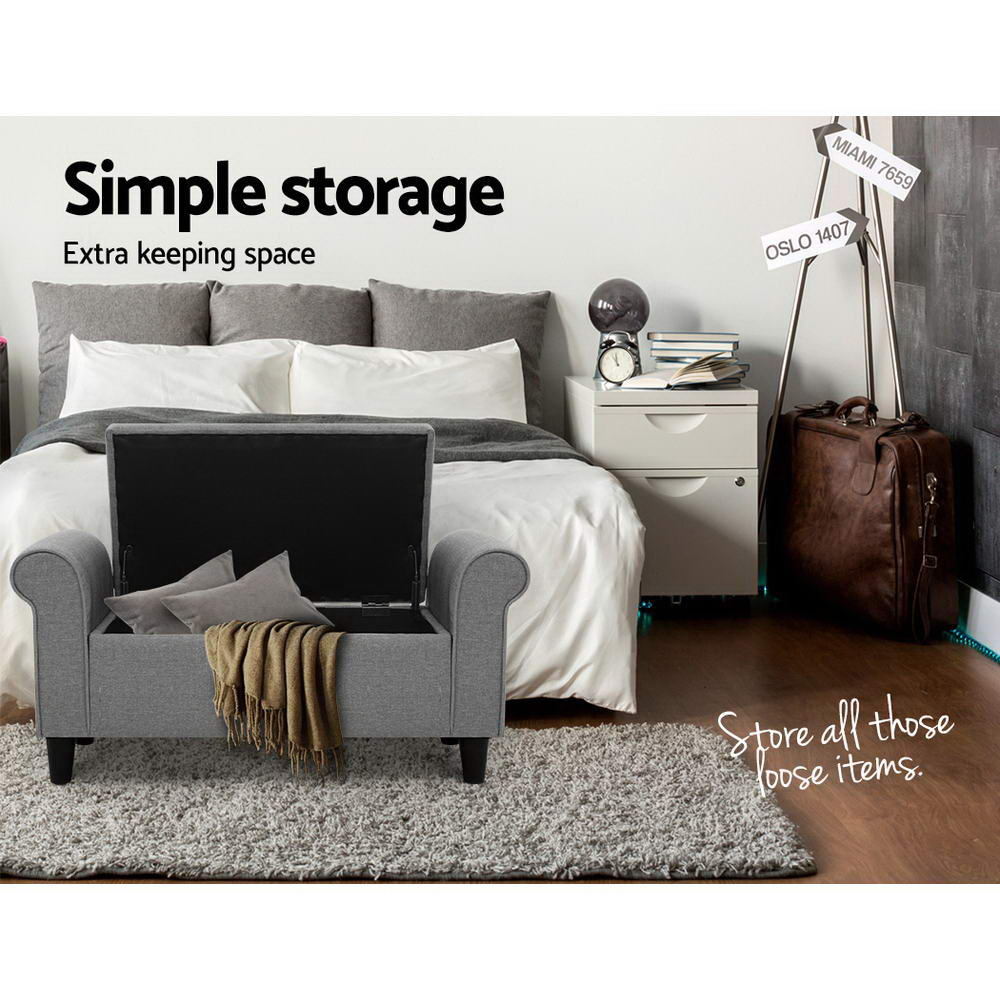Artiss Storage Ottoman Grey Blanket Box Chest Large Foot Stool Linen Toy Bench