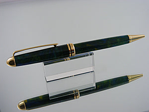 Ballpoint Pen, Classic Style, Handmade Pen in Gold and Parrot Bay Acrylic