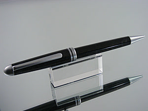 Ballpoint Pen, Classic Handmade Pen in Satin Chrome and Antique Silver Acrylic