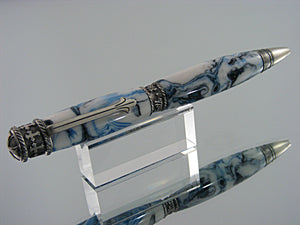 Religious Pen, Handmade Pen in Antique Pewter and Frostbite Acrylic