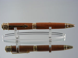 Religious Pen, Handmade Faith Ballpoint Pen in Bethlehem Carob and 24k Gold