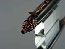 Load image into Gallery viewer, Gothic Pen, Handmade Ballpoint Pen in Antique Copper and Silver Swirl Acrylic
