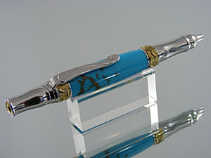 Handcrafted Nouveau Style Ink Pen in Gold TN and Rhodium with Tru-Stone