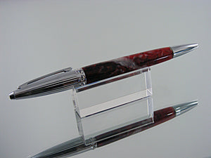 Elegant Pen, Handmade Ballpoint Pen in Chrome and Fire Feathers Acrylic