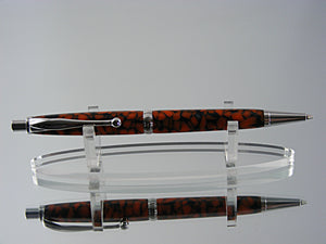 Mechanical Pencil, Handmade 7mm Pencil in Rhodium and Orange Stained Glass