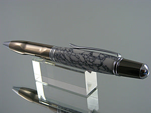 Ergonomic Pen, Ballpoint Pen, in Gunmetal and Chrome with Tru-Stone