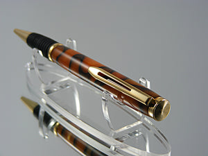 Comfort Grip Pen, Ballpoint Pen, Handmade in 24K Gold with Spalted Gold Acrylic