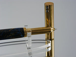 Rollerball, Handmade, Durable Industrial Style Rollerball Pen, in Solid Brass with Acrylic