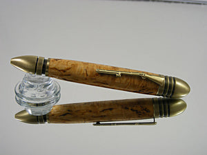 Handcrafted, Civil War Ballpoint Pen in Antique Brass and Masur Birch