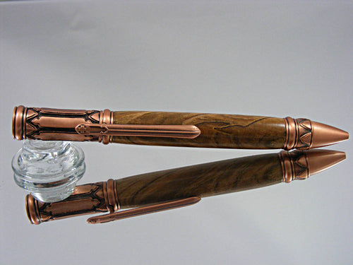 Gothic, Handmade Ballpoint Pen in Antique Copper and Ambrosia Maple