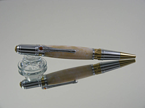 Art Deco, Handmade Ballpoint Pen in Chrome and Gold with Blue Pearl Acrylic