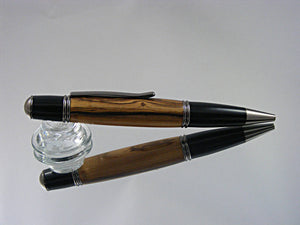 Classic, Handmade Ballpoint Pen with Gunmetal and Bethlehem Olivewood