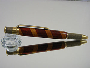 Industrial, Handmade Ballpoint Pen in Antique Brass and Laminate Wood