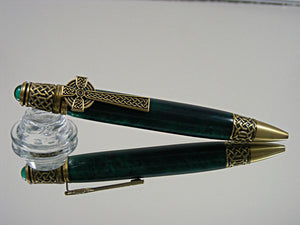 Celtic, Handcrafted Ballpoint Pen in Antique Brass and Emerald Green Acrylic