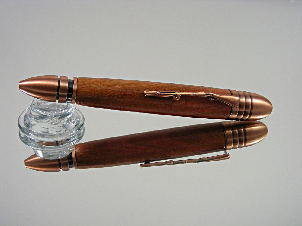 Handcrafted, Civil War Ballpoint Pen in Antique Copper and Pink Ivory