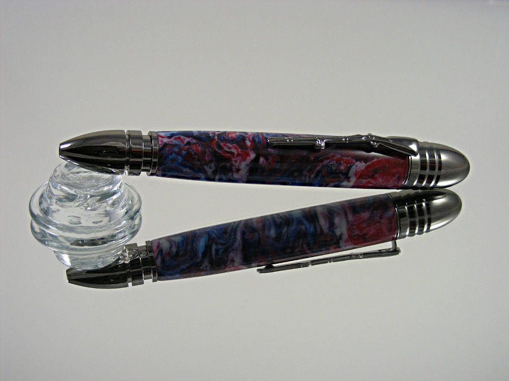 Civil War, Handmade Ballpoint Pen in Gunmetal and Patriotic Acrylic