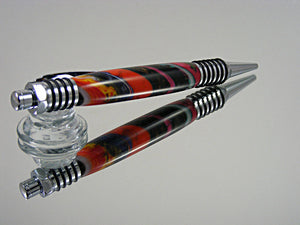 Industrial Pen, Handmade Ballpoint Pen in Chrome and Superstrata Acrylic