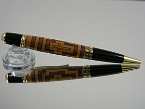 Inlay Pen, Handcrafted Ballpoint Pen in 24k Gold and a Cross Inlay