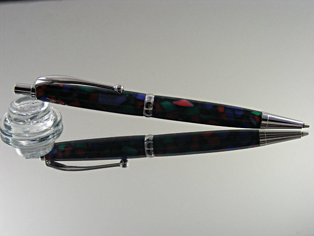 Mechanical Pencil, 7mm Pencil Handmade in Rhodium and Crush Stained Glass Acrylic