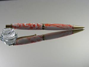 Mechanical Pencil, 7mm Pencil, Handmade in Gold Titanium and Orange Creamsicle Acrylic