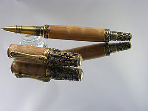 Rollerball, Handcrafted Victorian Pen in Antique Brass and Quilted Maple Wood