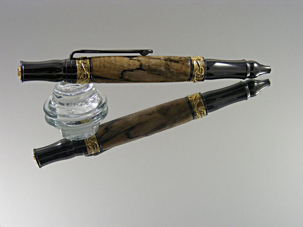 Elegant Pen, Handcrafted Ballpoint Pen, Nouveau Style Pen in Gold and Gun Metal with Spalted Clear Maple Wood