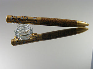 Filigree Style, Handcrafted Ballpoint Pen with Satin Gold over Satin Chrome and Black Ash Burl