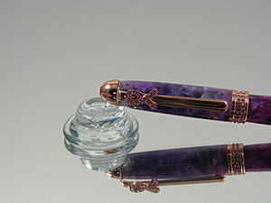 Cancer Awareness Pen, Handmade, Breast Cancer Ballpoint Pen in Rose Gold and Magenta with Violet Acrylic