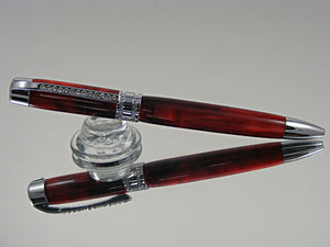 Ballpoint Pen, Handmade Elegant Pen with Clear Swarovski Crystals in Chrome and Scarlett Pearl Acrylic