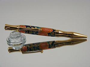 Ergonomic Pen, Handcrafted Ballpoint Pen in Gold Tinanium and Chiyogami Paper