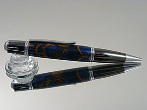 Ballpoint Pen, Handcrafted, Classic Style Pen in Chrome and Gun Metal Finish, with Acorn Caps in Cobalt Acrylic