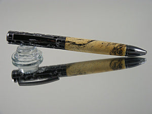 Ballpoint Pen, Handmade Filigree Style in Gunmetal over Satin Chrome with Spalted Tamarind