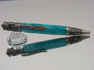 Phoenix, Handmade, Ballpoint Pen in Antique Pewter with Turquoise Ice Acrylic