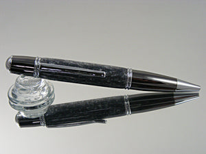 Classic Style, Ballpoint Pen, Handmade in Chrome and Gun Metal Finish with Crushed Silver Acrylic