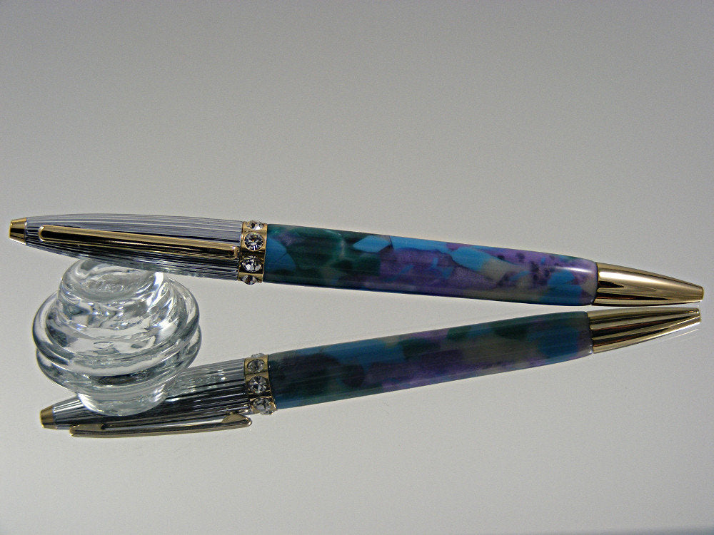 Elegant Pen, Handmade Smaller Ballpoint Pen in 24k Gold Chrome and Swarovski crystals with Blue Sky Pastel Crush Acrylic