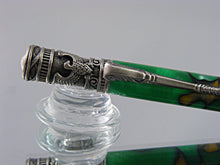 Load image into Gallery viewer, Handmade, Ballpoint Pen in Antique Pewter and Green Acrylic